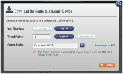 Download cycling, running and walking routes directly to a Garmin Device