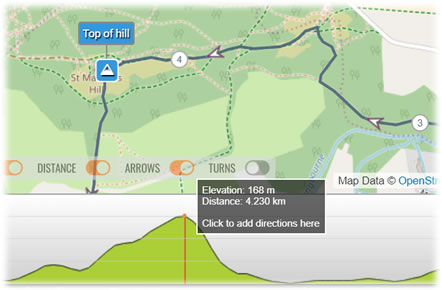 Click the elevation profile to add directions at this point on the route