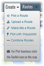 New Create menu - different ways to create a route