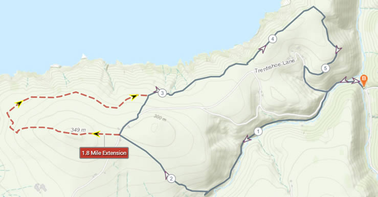 Example of a route map with a detour
