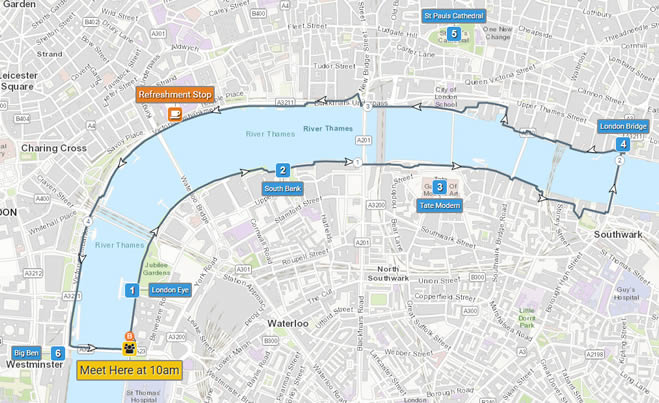 Example of new formatted labels on a London sightseeing map