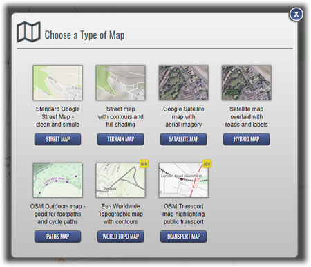 Types of maps available in the route planner