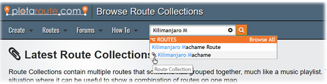 Search for a Route Collection