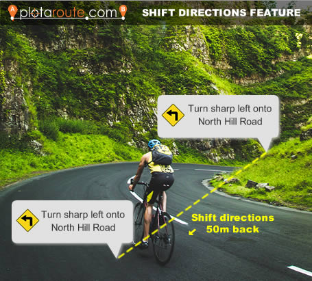 Shift route directions feature