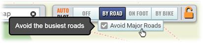 New Avoid Major Roads option