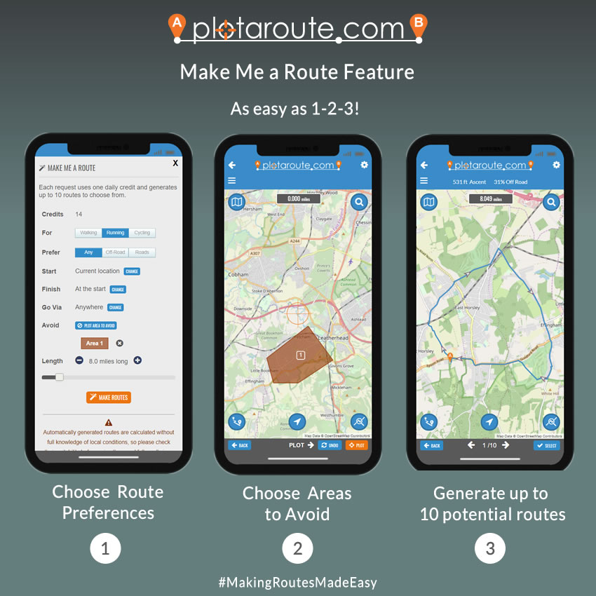 Make Me a Route feature - easy as 1-2-3!