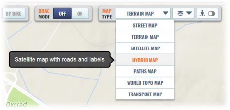 New drop-down lists for selecting map types and layers
