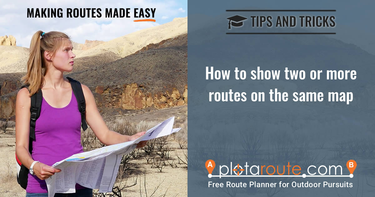 How to show two or more routes on one map using plotaroute.com