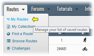 My Routes on the Routes menu