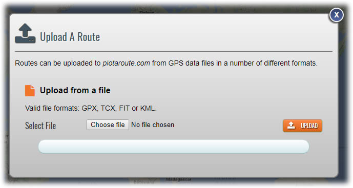 Upload a route to plotaroute.com